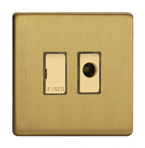 Varilight XDB6UFODS Screwless Brushed Brass 1 Gang 13A Unswitched Fused Spur + Flex Outlet